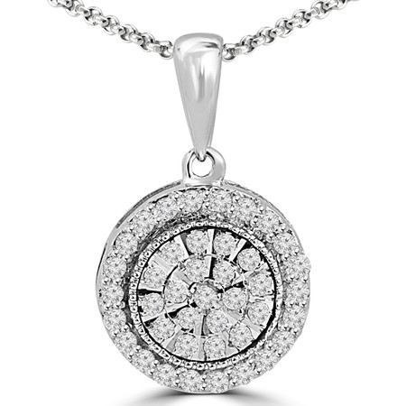 Round Cut Diamond Multi-Stone Prong-Set Vintage Flower Cluster Pendant Necklace with Chain in White Gold - #PEOQ1315-W