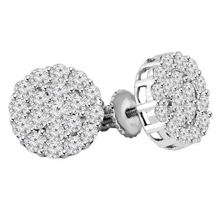 Round Cut Diamond Flower Cluster Multi-Stone Shared-Prong Stud Earrings with Screwbacks in White Gold - #EAOC3993