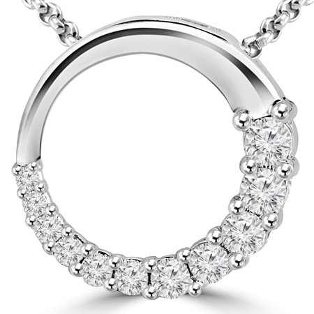 Round Cut Diamond Multi-Stone Shared-Prong Journey Circle Pendant Necklace with Chain in White Gold - #PEOH6713-W