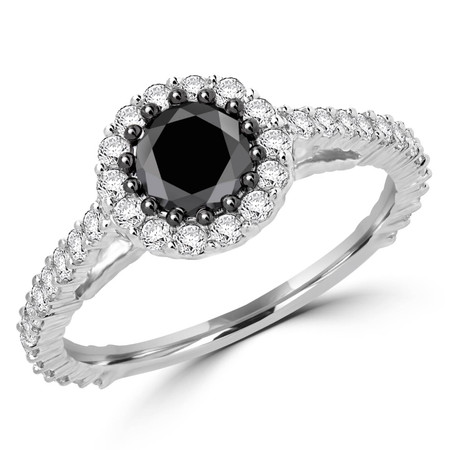 Round Cut Black Diamond Multi-Stone Shared-Prong Cathedral-Set Halo Engagement Ring with Round Cut White Diamond Accents in White Gold - #CDFRTQ1412