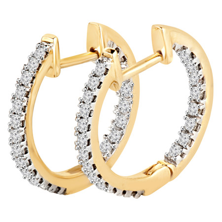 Round Cut Diamond Multi-Stone Inside Outside Huggie Hoop 4-Prong Earrings in Yellow Gold - #HDE2651-Y