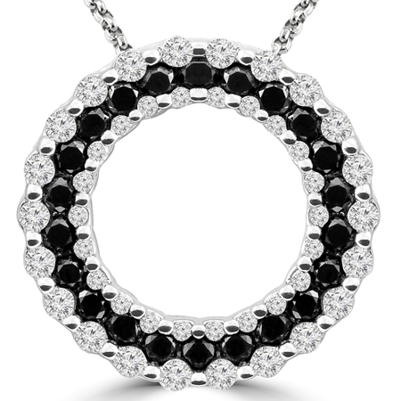 Round Cut Black & White Diamond Multi-Stone Shared-Prong Circle of Life Pendant Necklace with Chain in White Gold - #CDPEOC7452