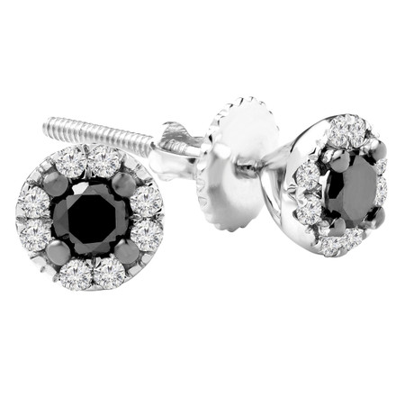 Round Cut Black Diamond Multi-Stone 4-Prong Halo Stud Earrings with Round Cut Diamond Accents with Screwbacks in White Gold - #CDEAOQ8788