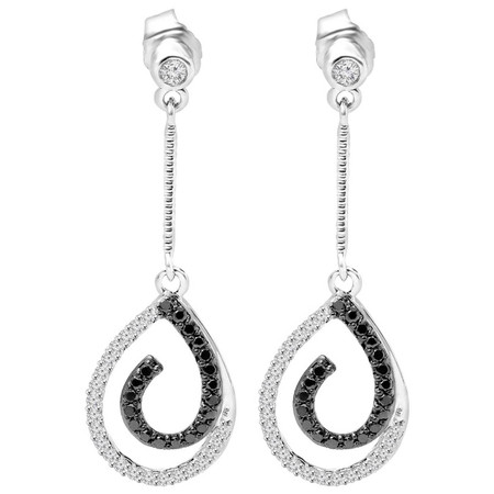 Round Cut Black & White Diamond Multi-Stone Shared-Prong & Bezel-Set Dangle Drop Earrings in White Gold - #CDEAOH5329