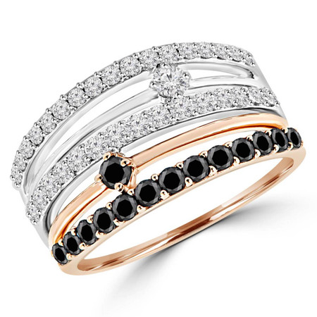 Round Cut Black & White Diamond Multi-Stone 5-Row Fashion Cocktail Prong-Set Ring in White & Rose Gold - #HDR4221-W-R-BLK