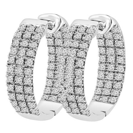 Round Cut Diamond Inside Outside Hoop Multi-Stone Three Row Pave-Set Earrings in White Gold - #EAOC3262