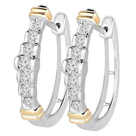 Round Cut Diamond Multi-Stone Huggie Hoop Bar-Set Earrings in Two-tone Gold - #EQ0643