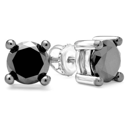 Round Cut Black Diamond Solitaire 4-Prong Stud Earrings with Screwbacks in White Gold - #CDEAHT1336