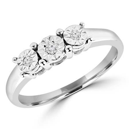 Round Cut Diamond Three-Stone Illusion-Set Engagement Ring in White Gold - #GSEFX117