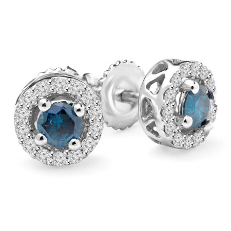 Round Cut Blue Diamond Multi-Stone 4-Prong Halo Stud Earrings with Round Cut White Diamond Accents with Screwbacks in White Gold - #CDEAHH0132