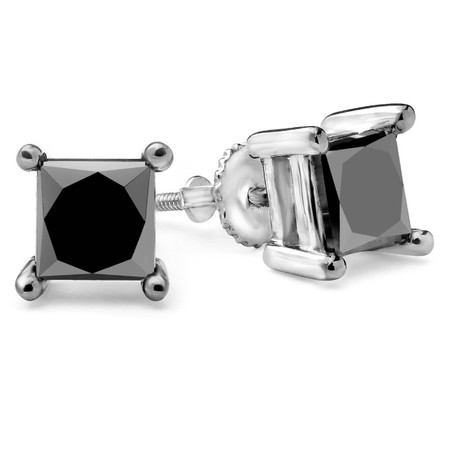 Princess Cut Black Diamond Solitaire 4-Prong Stud Earrings with Screwbacks in White Gold - #CDEACF8814-W