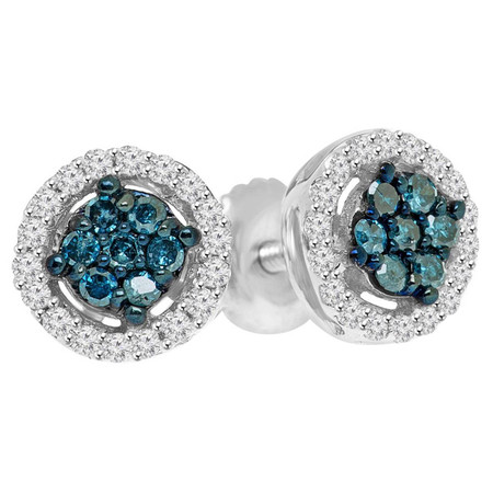 Round Cut Blue Diamond Multi-Stone Halo Cluster Shared-Prong Stud Earrings with Round Cut White Diamond Accents in White Gold - #CDEAOQ4182