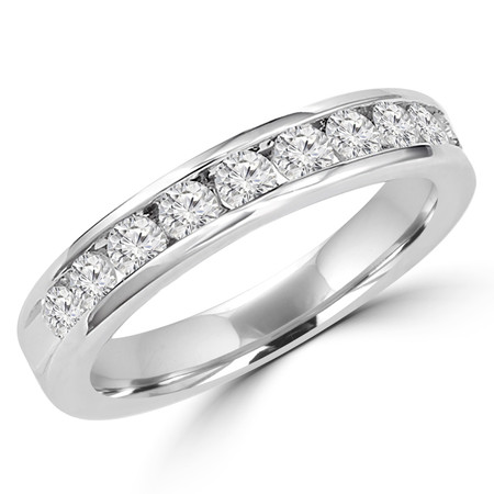 Round Cut Diamond Semi-Eternity Channel-Set Wedding Band Ring in White Gold - #HR4501-W