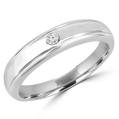 Round Cut Diamond Bezel-Set Comfort Fit Mens Wedding Band Ring in White Gold - #HR2272-W
