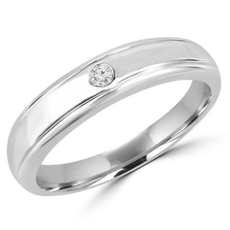 Round Cut Diamond Bezel-Set Comfort Fit Mens Wedding Band Ring in White Gold - #HR2272-W