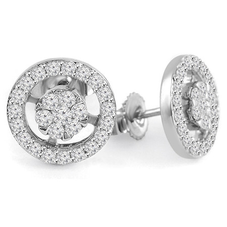 Round Cut Diamond Multi-Stone Cluster Halo Stud Earrings in White Gold - #HDE2085-W