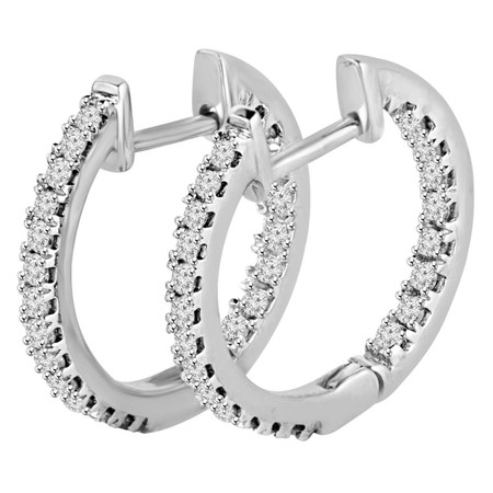 Round Cut Diamond Multi-Stone Inside Outside Huggie Hoop 4-Prong Earrings in White Gold - #HDE2651-W