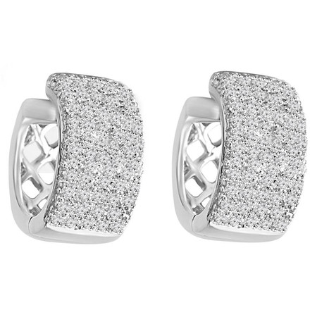 Round Cut Diamond Multi-Stone Huggie Hoop Pave Earrings in White Gold - #HDE1333-HDE1033-W