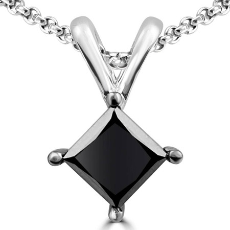 Princess Cut Black Diamond 4-Prong Solitaire Pendant Necklace with Chain in White Gold - #CDPEQC5380-W