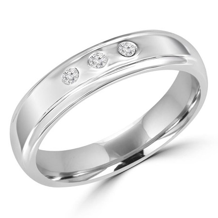 Round Cut Diamond Bezel-Set Comfort Fit Mens Wedding Band Ring in White Gold - #HR3223-W