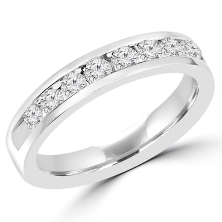 Round Cut Diamond Semi-Eternity Channel-Set Wedding Band Ring in White Gold - #HR4507-W