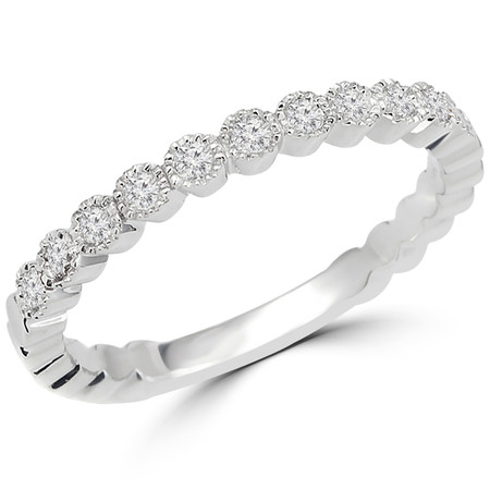 Round Cut Diamond Multi-Stone Bezel-Set Wedding Band Ring in White Gold - #HR6413-W