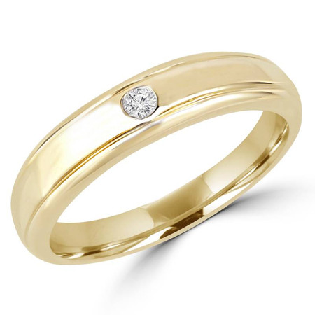 Round Cut Diamond Bezel-Set Comfort Fit Mens Wedding Band Ring in Yellow Gold - #HR2272-Y