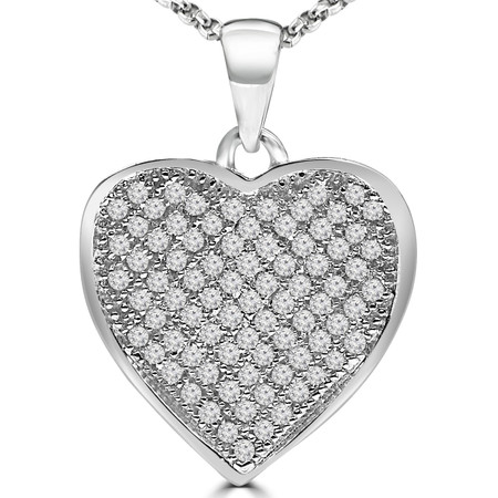 Round Cut Diamond Multi-Stone Cluster Heart Pendant Necklace with Chain in White Gold - #PEOQ6661-W