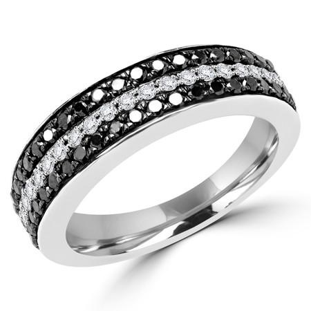 Round Cut Black & White Diamond Multi-Stone Three-Row Shared-Prong Wedding Band Ring in White Gold - #CDFR0H5113