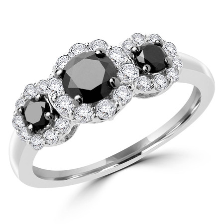 Round Cut Black Diamond Multi-Stone Three-Stone Triple-Halo 4-Prong Engagement Ring with Round Cut White Diamond Accents in White Gold - #CDFR0C9070