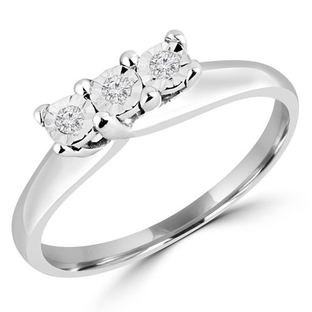 Round Cut Diamond Three-Stone Illusion-Set Trellis Engagement Ring in White Gold - #GNFX68-W
