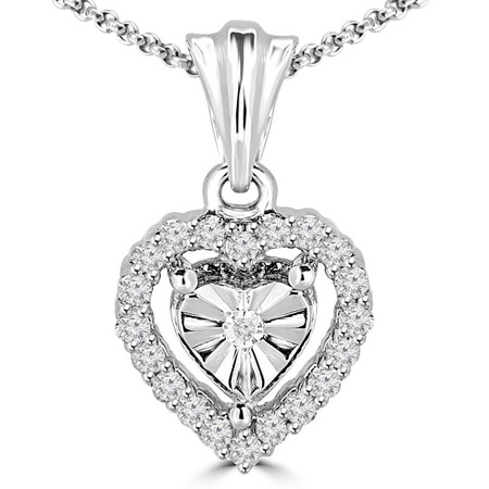 Round Cut Diamond Multi-Stone Prong-Set Vintage Heart Shape Pendant with Chain in White Gold - #PEOT4618-W