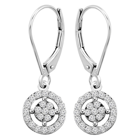 Round Cut Diamond Multi-Stone Halo Dangle Drop Shared-Prong Earrings in White Gold - #EATH3827