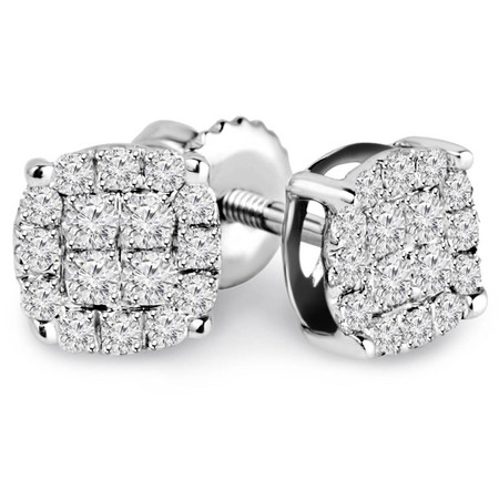Round Cut Diamond Multi-Stone Cluster Pave Stud Earrings with Screwbacks in White Gold - #EAOQ6816