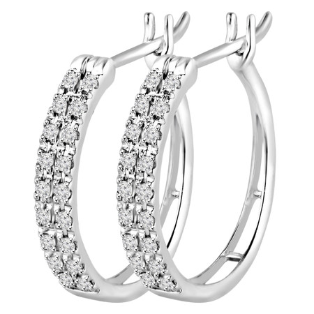 Round Cut Diamond Two Row Multi-Stone Pave Hoop Earrings in White Gold - #EAOQ5624