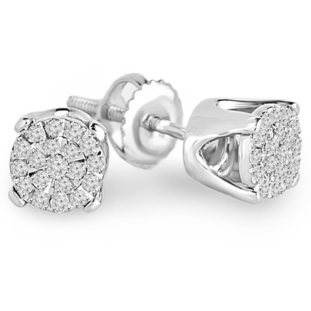 Round Cut Diamond Multi-Stone Cluster Pave Stud Earrings with Screwbacks in White Gold - #EAOT3249