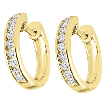 Round Cut Diamond Multi-Stone Huggie Hoop Channel-Set Earrings in Yellow Gold - #HDE2622-Y