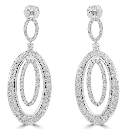 Round Cut Diamond Dangle Drop Vintage Multi-Stone 4-Prong Earrings in White Gold - #EAOC9626G