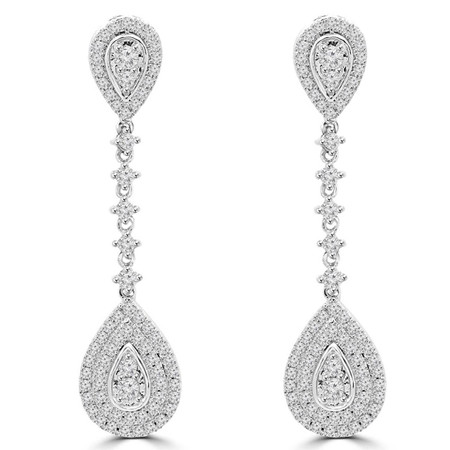 Round Cut Diamond Dangle Drop Vintage Multi-Stone Shared-Prong Earrings in White Gold - #EAOC8194