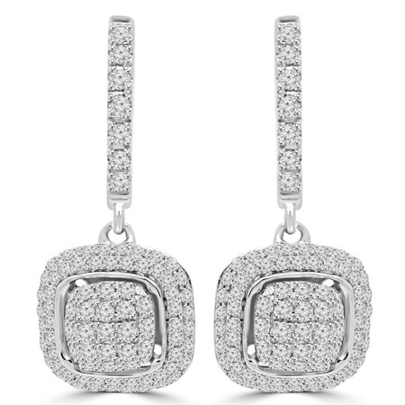 Round Cut Diamond Dangle Hoop Multi-Stone Pave-Set Earrings in White Gold - #EAHT9139G