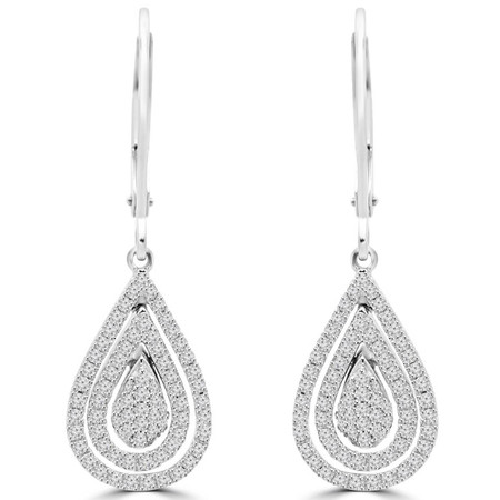 Round Cut Diamond Dangle Drop Vintage Multi-Stone Shared-Prong Earrings with Leverbacks in White Gold - #EAOH0527G