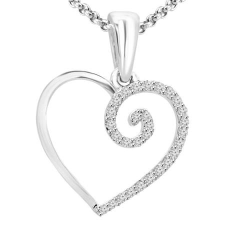 Round Cut Diamond Multi-Stone Shared Heart Shape Pendant Necklace with Chain in White Gold - #PEOX2813G-W