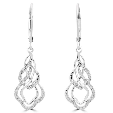 Round Cut Diamond Multi-Stone Dangle Drop Infinity Shared-Prong Leverback Earrings in White Gold - #EAQQ9876