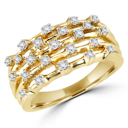 Round Cut Diamond Multi-Stone 4-Prong Fashion Cocktail Ring in Yellow Gold - #FROQ2991-Y