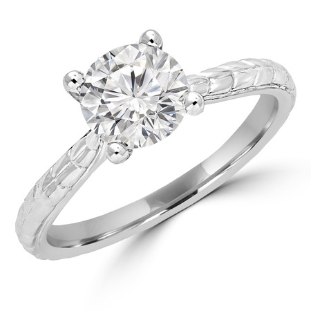 Round Cut Diamond Solitaire 4-Prong Vintage Engagement Ring in White Gold - #ENOQ3533-W