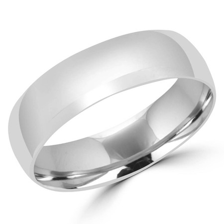 6.0 MM Polished Mens Comfort Fit Wedding Band Ring in White Gold - #J101-620G-W