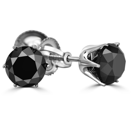 Round Cut Black Diamond Solitaire 6-Prong Stud Earrings with Screwbacks in White Gold - #G4D6-W-BLK