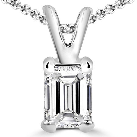 Emerald Cut Diamond Solitaire 4-Prong Pendant Necklace with Chain in White Gold - #PE5-W-EM