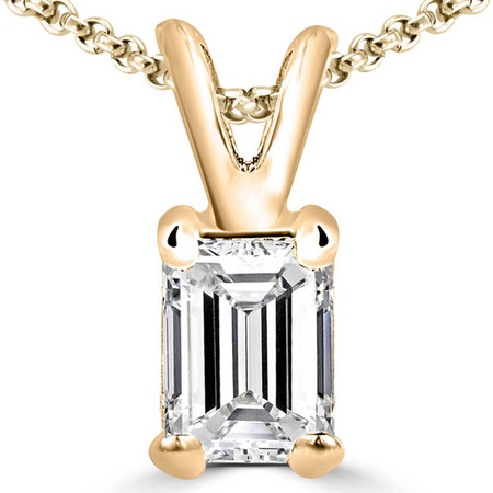 Emerald Cut Diamond Solitaire 4-Prong Pendant Necklace with Chain in Yellow Gold - #PE5-Y-EM