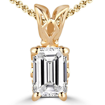 Emerald Cut Diamond Solitaire 4-Prong Decorative-Bail Pendant Necklace with Chain in Yellow Gold - #PEF-Y-EM